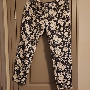 Navy blue and white floral jeans